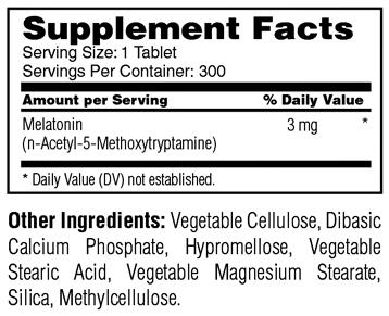 Melatonin 3 mg - TR Time Release - 300 Tablets